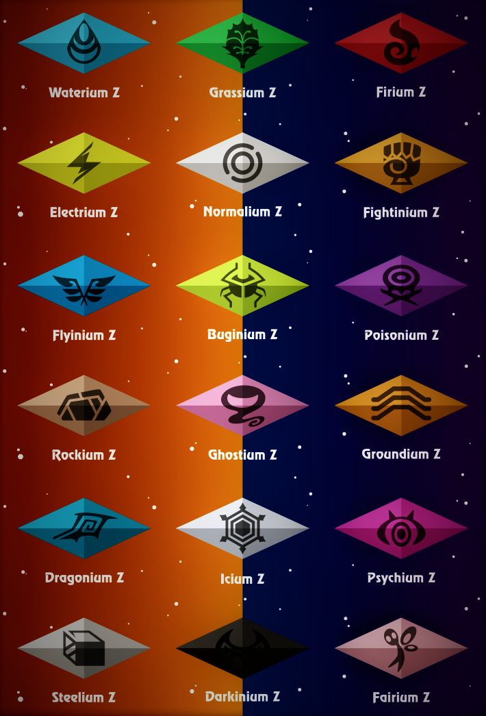 Z Crystals For Each Pokemon Type By Pokemonsketchartist