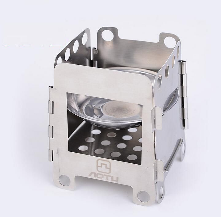 Portable Outdoor Folding Stainless Steel Camping Stove Burning Wood Stove S UK