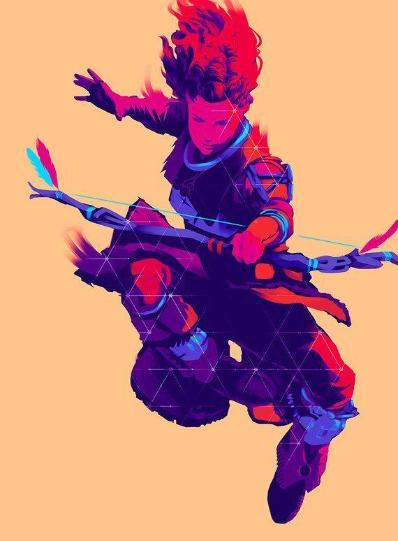 Aloy Jumping Bow Art Print Horizon Zero Dawn Game Poster   Etsy