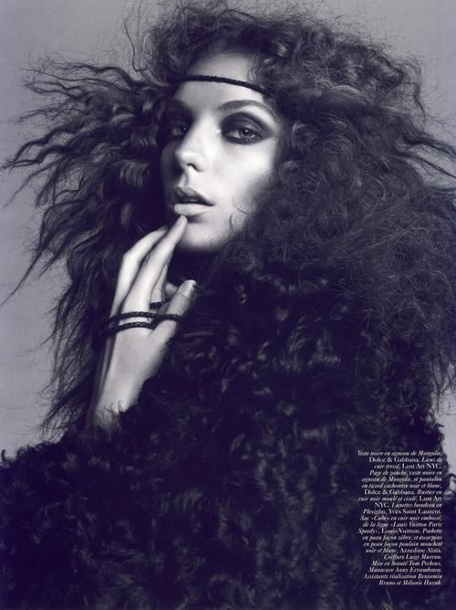 Daria Werbowy by Inez and Vonoodh for Vogue Paris August 2008. Makeup by Tom Pecheux.