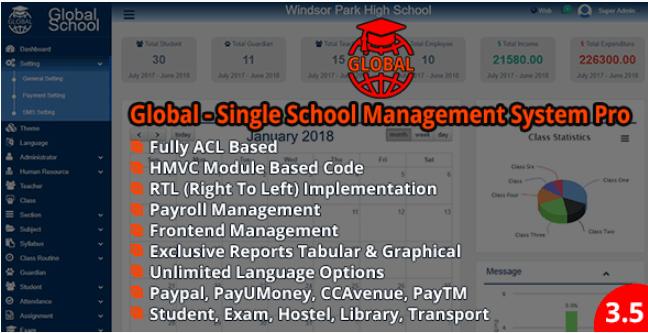 Global V3 5 Single School Management System Pro Nulled School Management Teacher Management Student Management