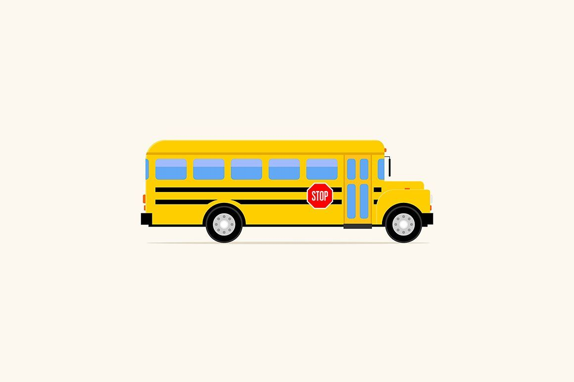 Flat style school bus illustration schoolabstractbusyellow