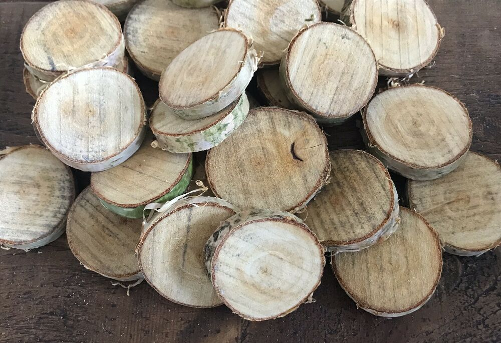 40 Small Natural Birch Wood Slices Rounds Craft 4 5 5 5cm Ebay Wood Slices Wood Birch Wood