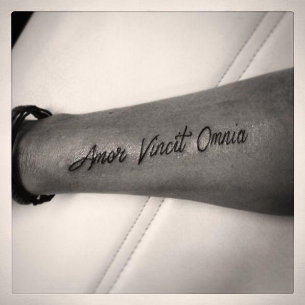Amor Vincit Omnia Tattoo Text Wrist Tiny Tattoos Tattoos
