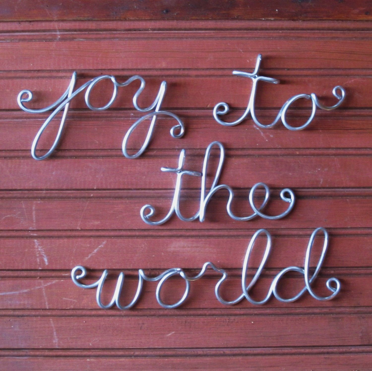 Joy to the World Christmas Wall Art Wire Word Script by
