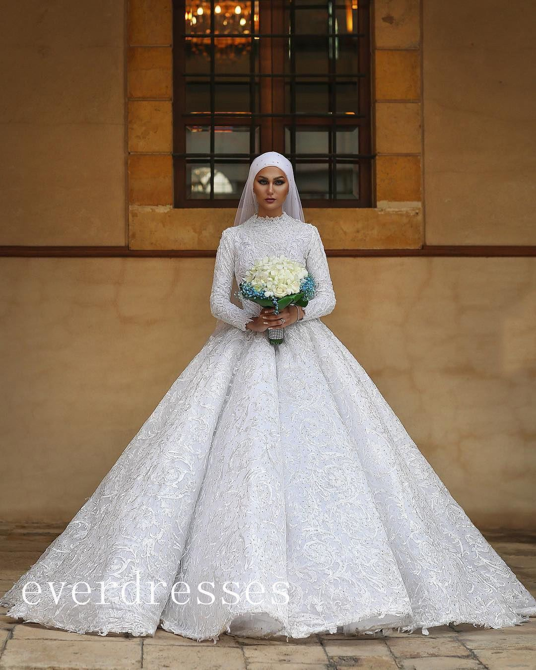 Wedding decorations muslim october 2018 Cool Amazing Luxury Muslim Wedding Bridal Dress Ball Gown Aline