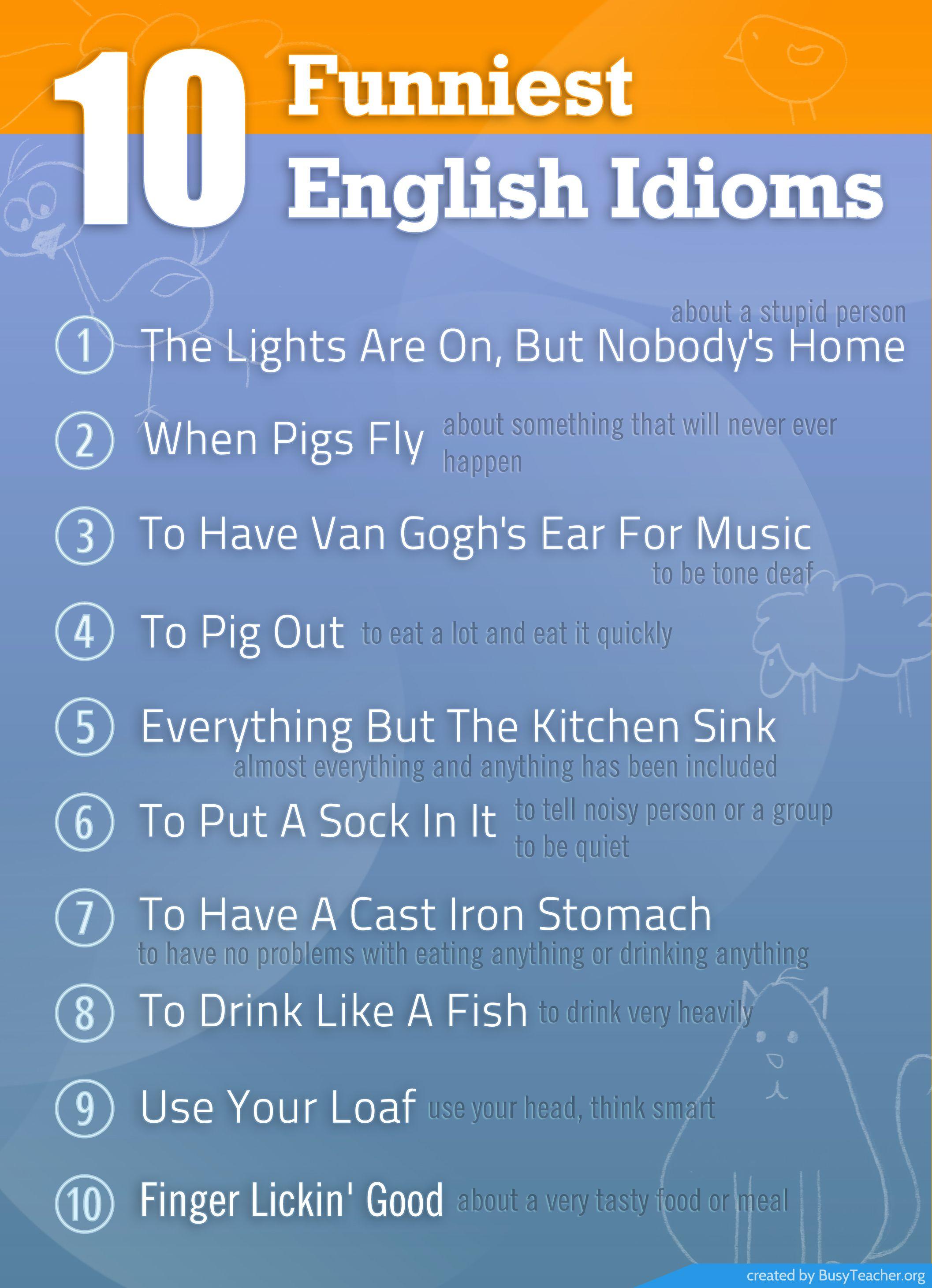 Funniest English Idioms English Idioms Funny