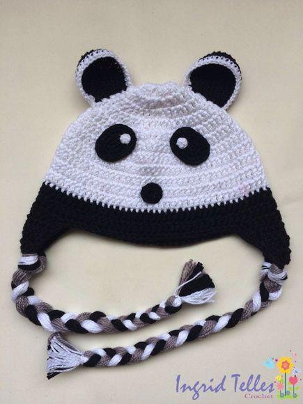Touca panda em crochê  4eb1a2cc24b