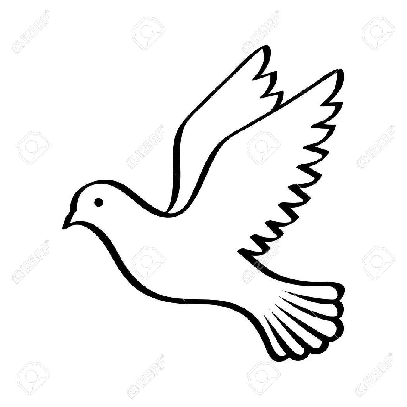 Vliegende Vogel Duif Of Duiven Met Zijn Vleugels Gespreid Lijntekeningen Vector Pictogram Voor De Natuur Apps En Websites Vliegende Vogels Lijntekeningen Duif