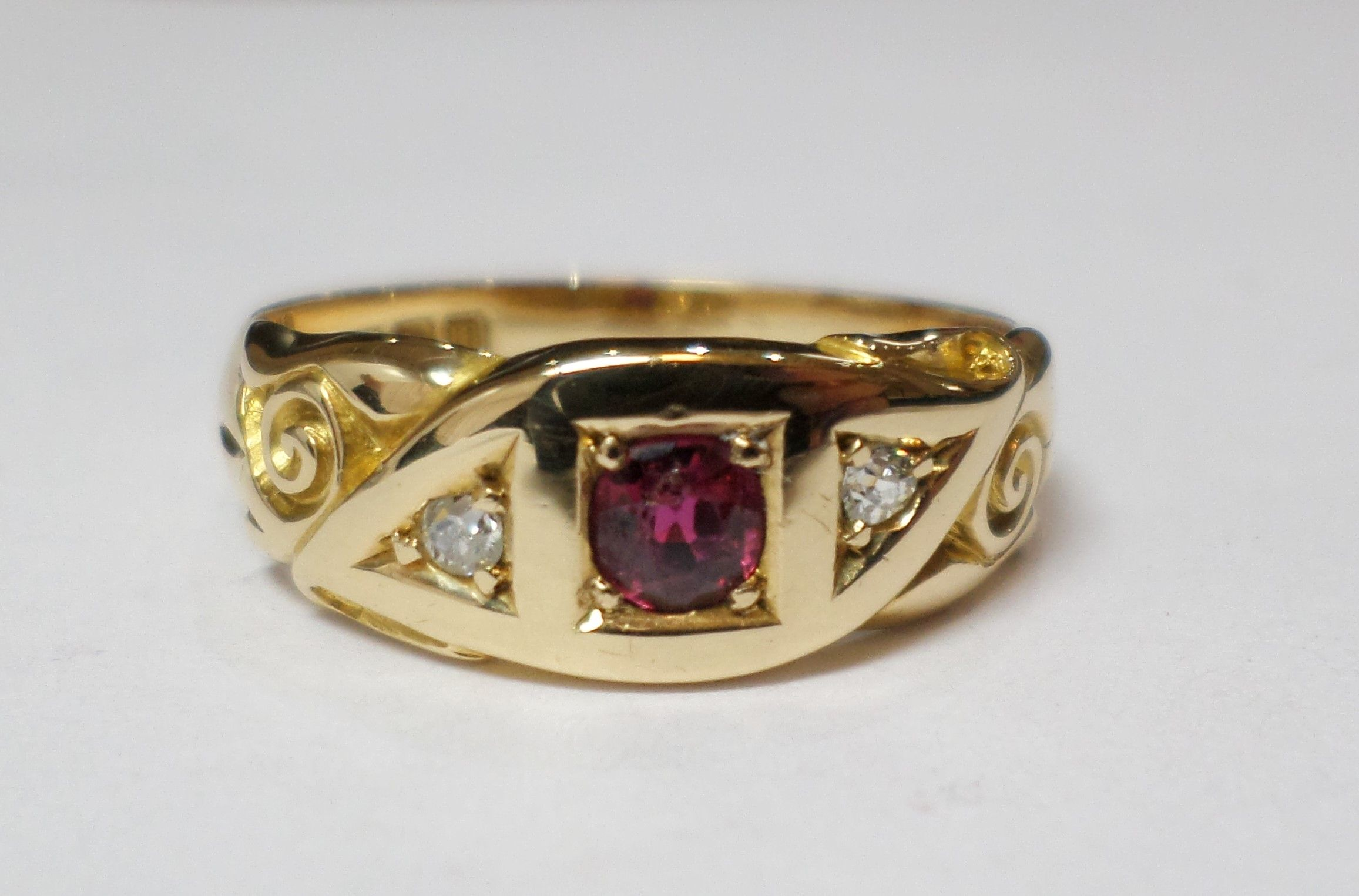 18ct Yellow Gold Ruby And Diamond Band Ring With Scroll Design Shoulders And A Birmingham 1911 Hallmark 325 00 Ant Diamond Rings Bands Jewellery Quarter Rings