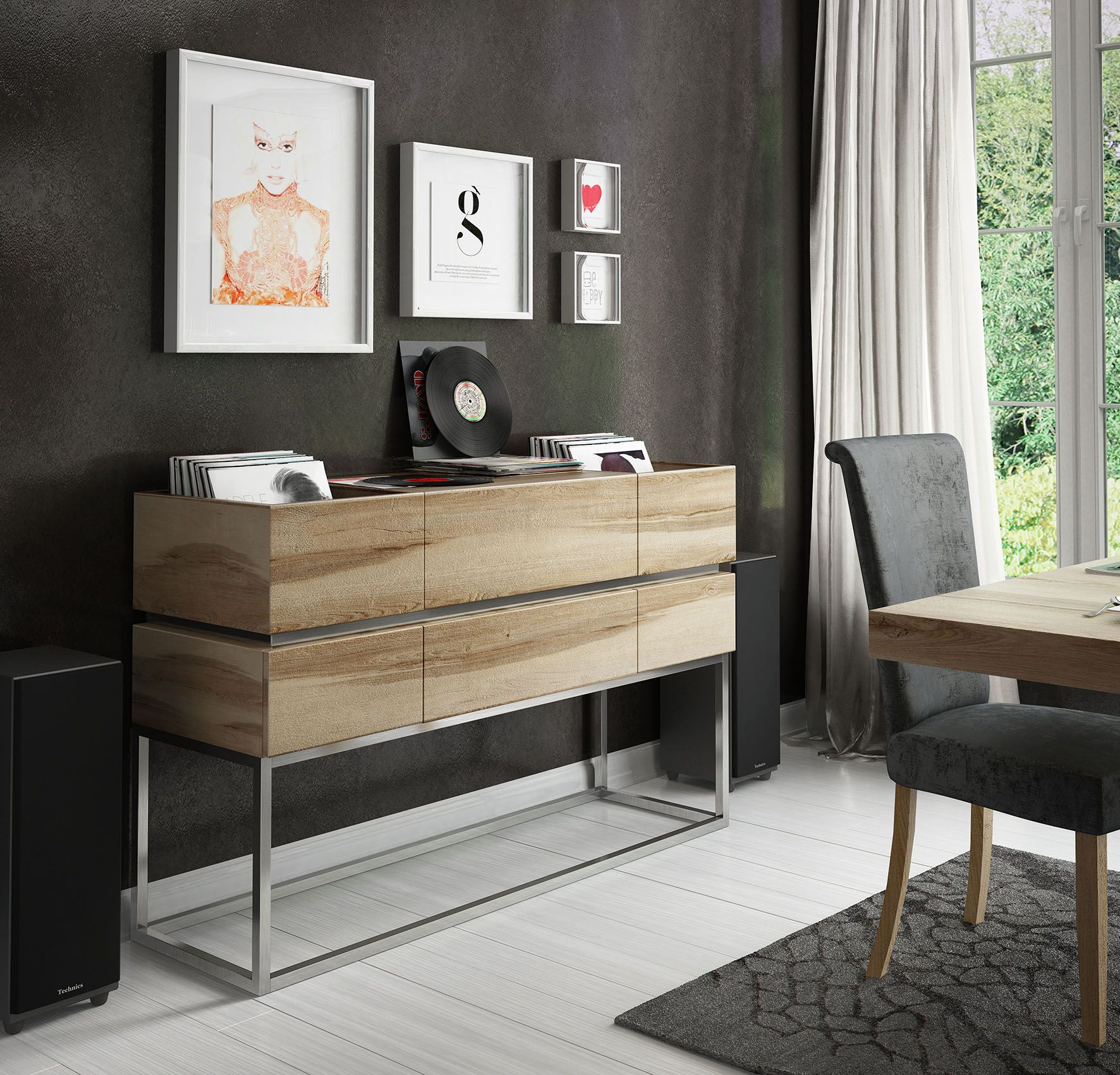 Mueble para discos de vinilo acabado en roble y base - Vinilos para cajones ...