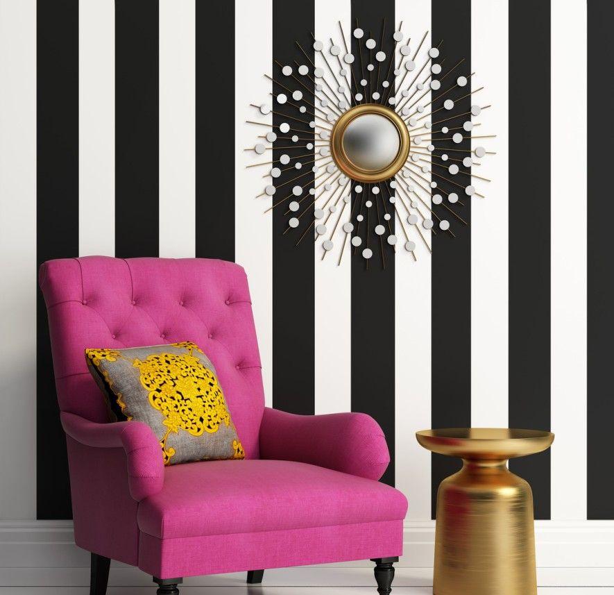 1 Gestreifte Wand mit Blickfang Living ideas Pinterest - wand rosa streichen ideen