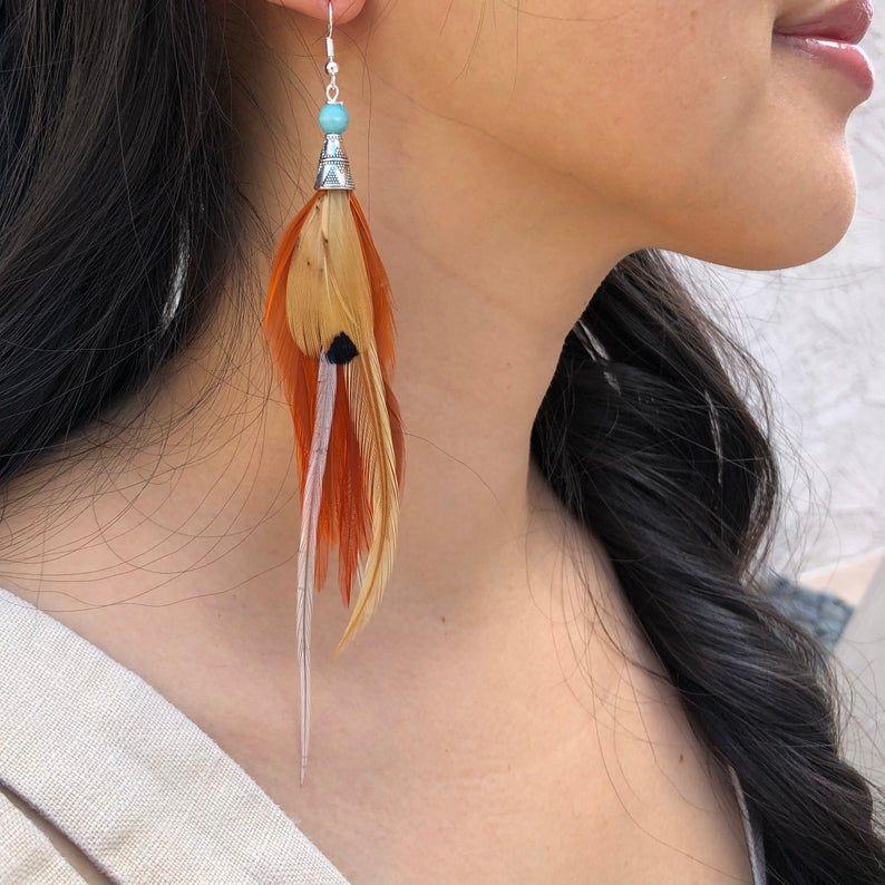 Fire /& Water Handmade Real Feather Earrings