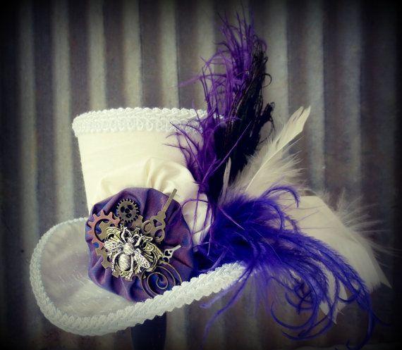 Queen Bee Steampunk Style Mini Top Hat, Flower girl, Tea Party Mini Top Hat, Mad Hatter Hat, Alice in Wonderland, Gear Hat via Etsy