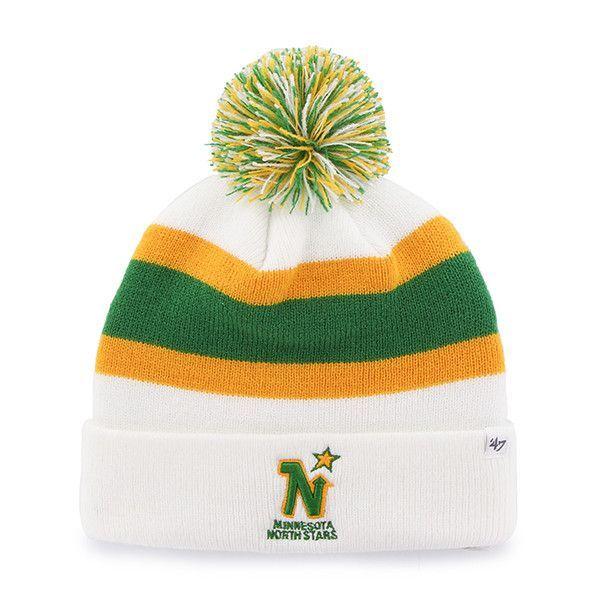 online retailer d3952 dca35 ... usa knit hat big sale ede19 dae60 minnesota north stars 47 brand white  gold green vintage