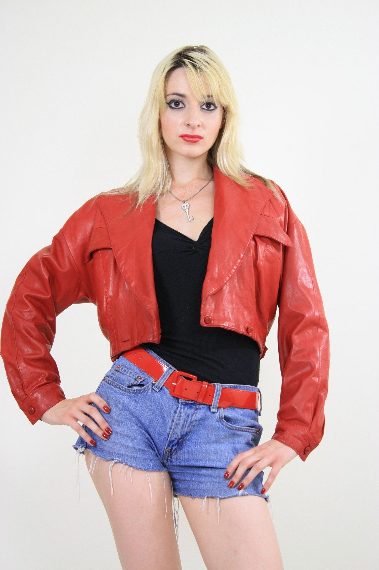 Vintage 80s Cropped Red Leather Moto Jacket Red Leather Moto Jacket Jackets Red Leather Jacket [ 1936 x 1288 Pixel ]