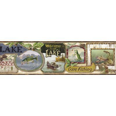Brewster Home Fashions Borders by Chesapeake Skippy Fishing Signs Portrait 15' x 6'' Wildlife 3D Embossed Border Wallpaper Color: Cream