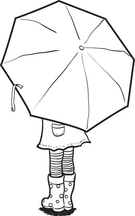 Mädchen das eine Regenschirm-Frühlings-Malvorlage hält