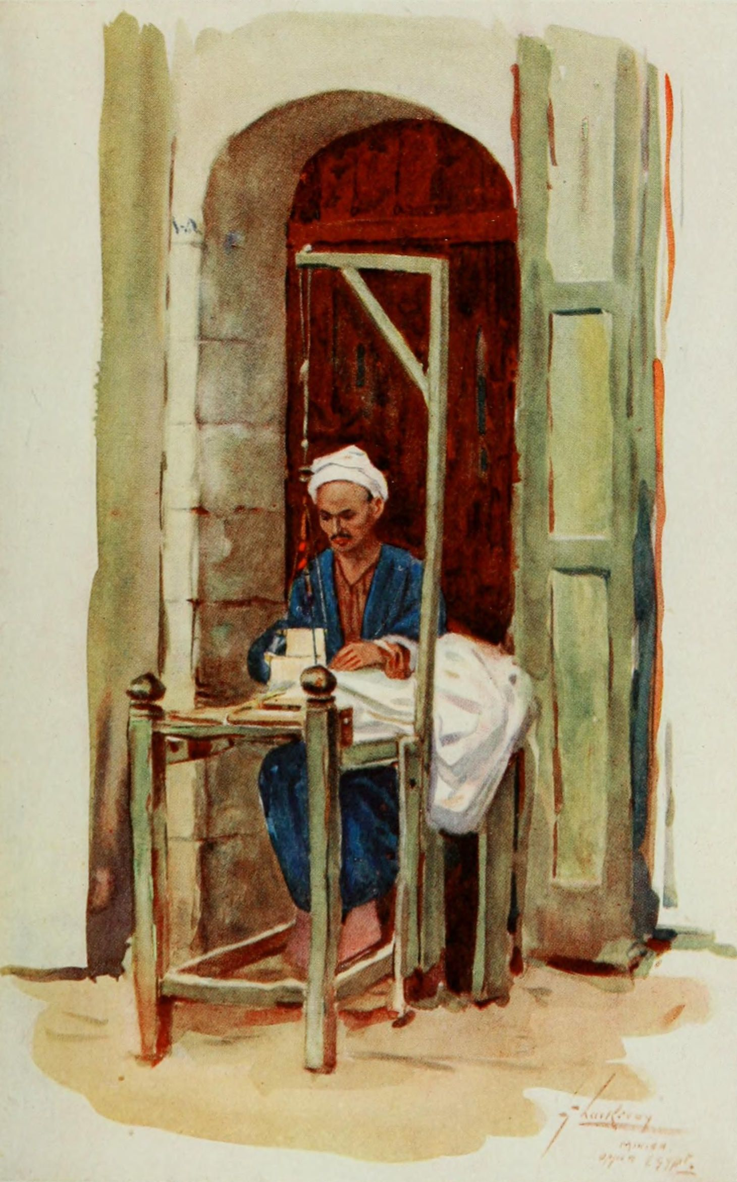 Thackeray, Lance (1869-1916) - The People of Egypt 1916, Spinner or weaver. #nile, #egypt, #africa