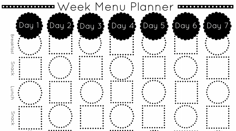 5 minute menu planning template misc pinterest menu template