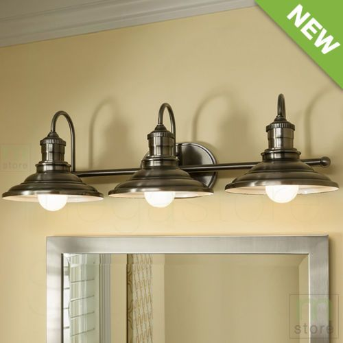 Bathroom vanity 3 light fixture antique pewter cone wall lighting allen roth