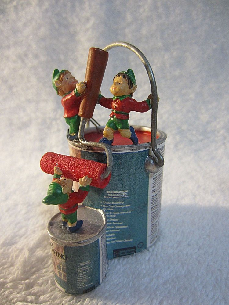 Sears Christmas Ornament Elf Miniature Vtg 1995 Easy Living Wall Paint Can