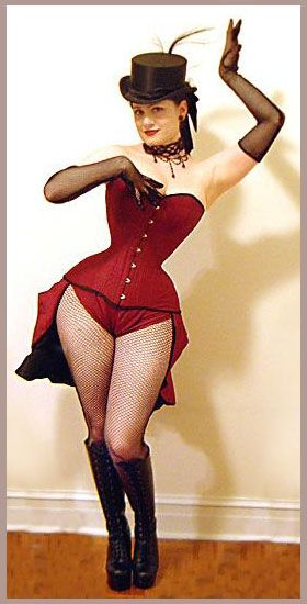 1f6f6016885 Red wasp waist corset with short bustle skirt