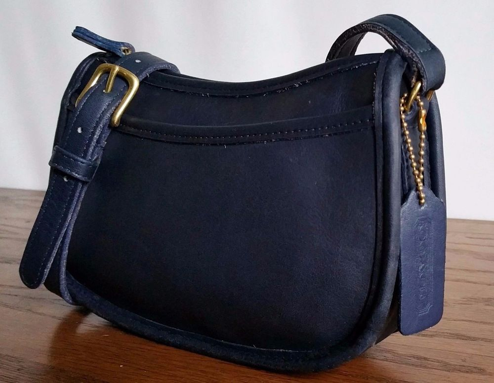 c2b8f2e3 Details about Coach Wendie 9031 Vintage Navy Blue Leather Cross Body ...