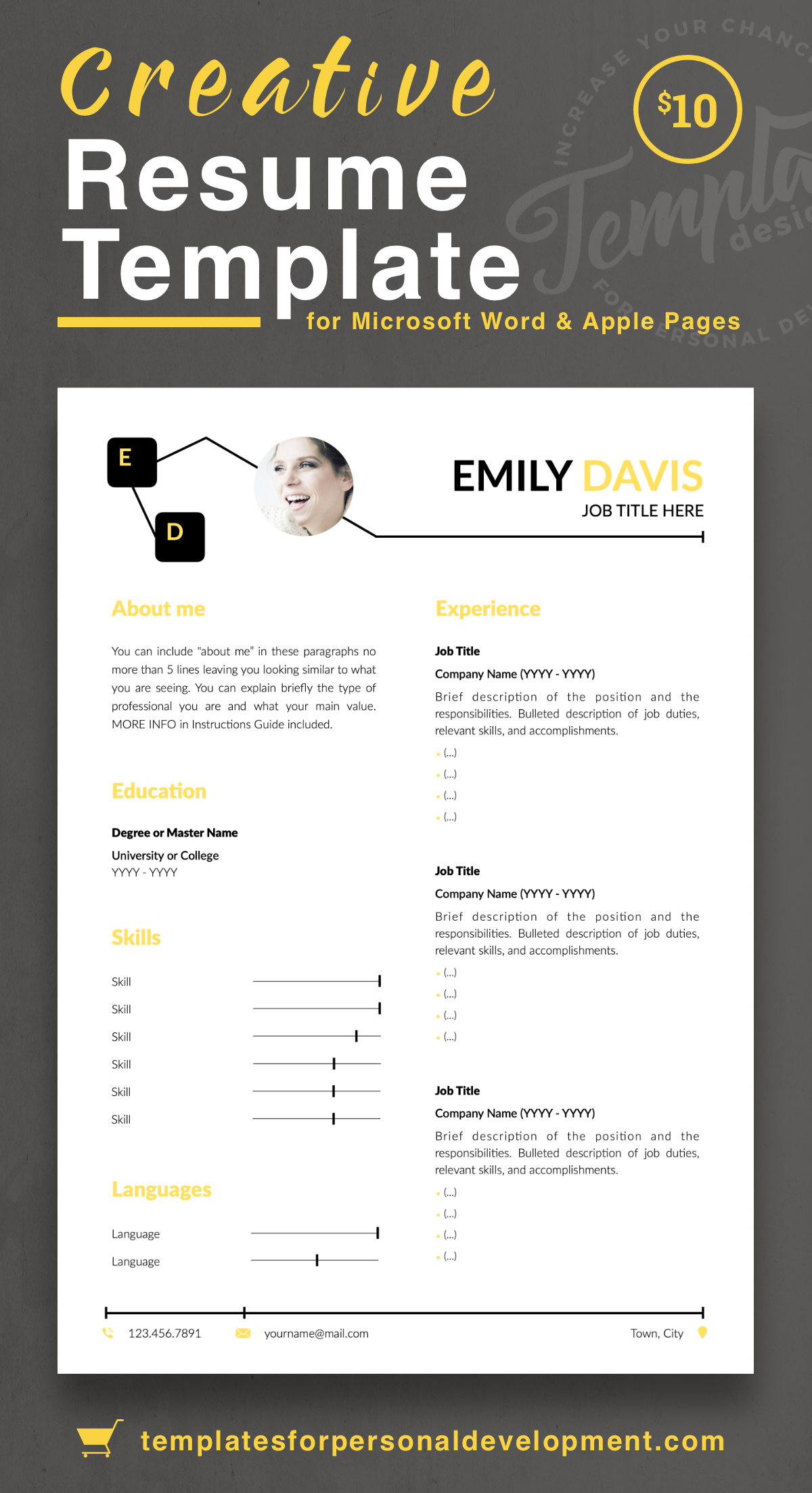 Emily Davis Creative Resume Cv Template For Word Pages Us Letter A4 Files 1 2 3 Page Resume Version Cover Letter References Cover Letter