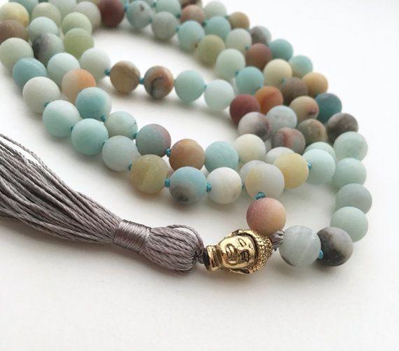 Amazonite Mala 108 Bead Malas Hand Knotted Necklace Buddhist