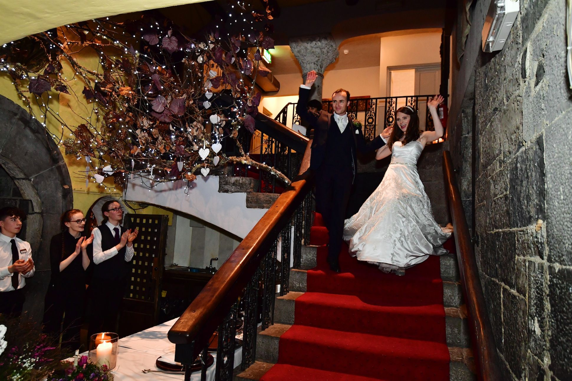 wedding reception entrance in a castle in the west of ireland