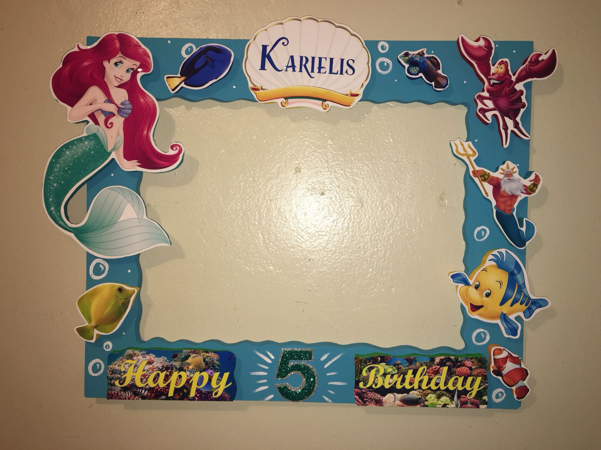 LITTLE Mermaid Photobooth Frame Ariel Sebastián Flounder