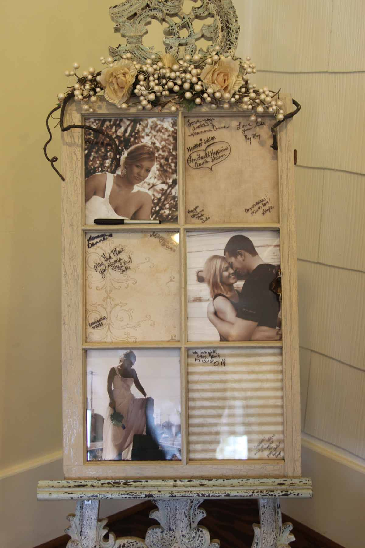 Old Window Frame Projects I Took An Old Window Frame And Used It For My Daughters Wedding