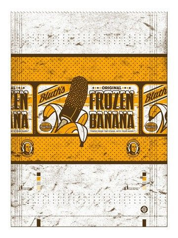 """Frozen Banana Wrapper"" - 2 color numbered screen print edition of 50 from The ART of LA- Arrested Development 