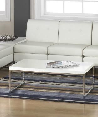 Wall Street Avenue Six White Top Square Chrome Legs Coffee Table