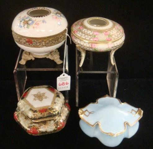 4 Vintage Porcelain Dresser Boxes And Hair Receivers On Hair