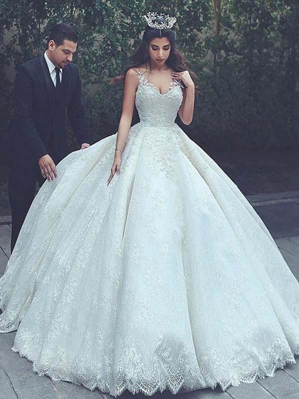 A-line Straps Floor-length Sleeveless Satin Wedding Dress # VB007 ...