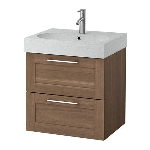 GODMORGON / BRÅVIKEN Sink cabinet with 2 drawers, walnut walnut effect, light gray walnut effect/light gray 60x49x68 cm