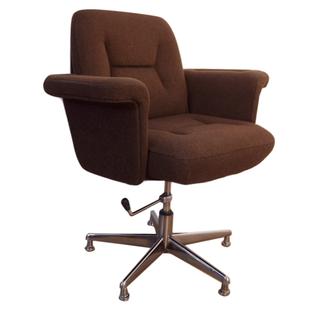 Superbe fauteuil vintage de bureau pivotant tweed lain fauteuil
