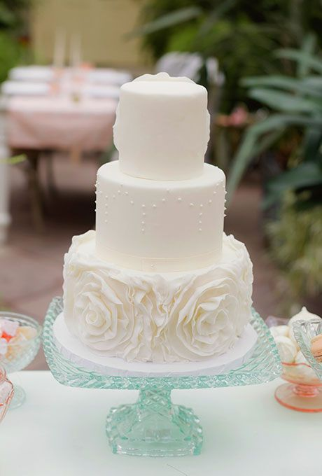 Brides Three Tiered White Cake With Flowers A Tier Wedding