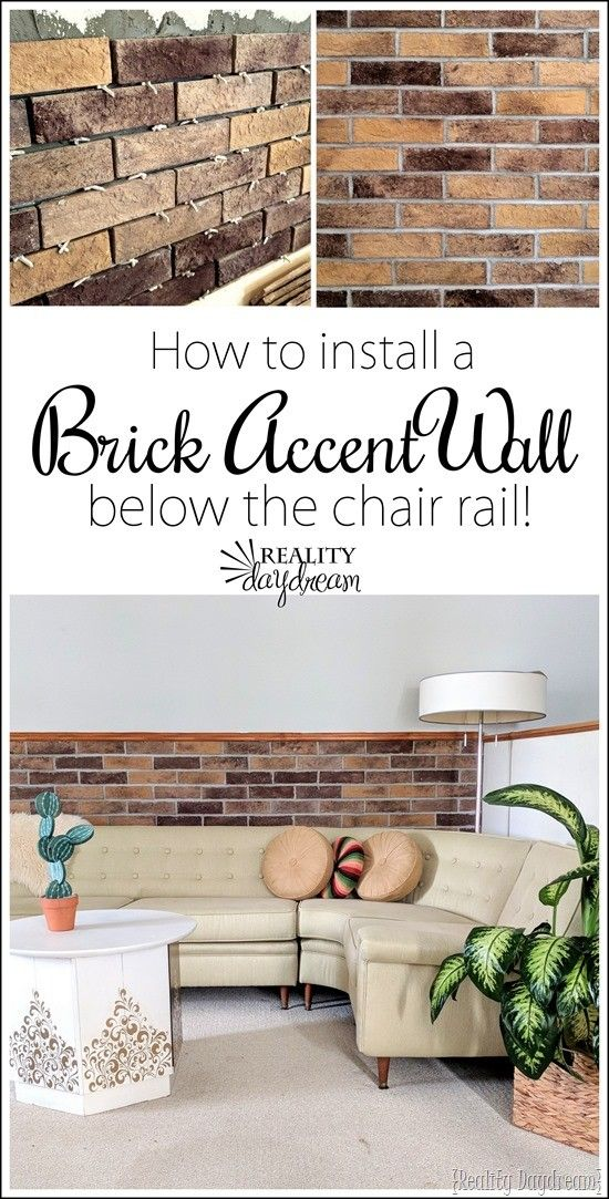 Chair Rail Accent Wall Part - 35: Tutorial On How To Install A Brick Veneer Accent Wall Below The Chair Rail  With Coronado