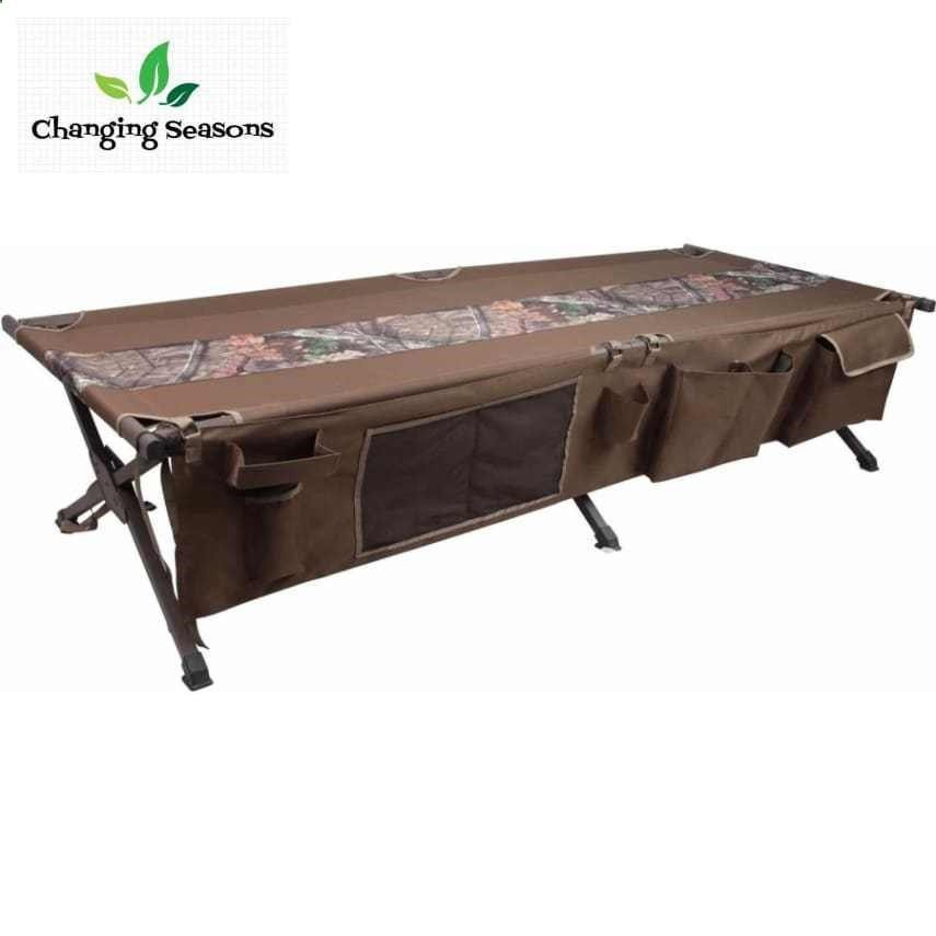 camping cot with side storage pocket elevated sleeper folding camp