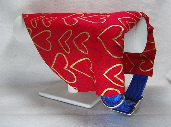 Dog Collar Bandana, Dog Bandana, Slide On Bandana, Valentine Metallic Hearts, LARGE