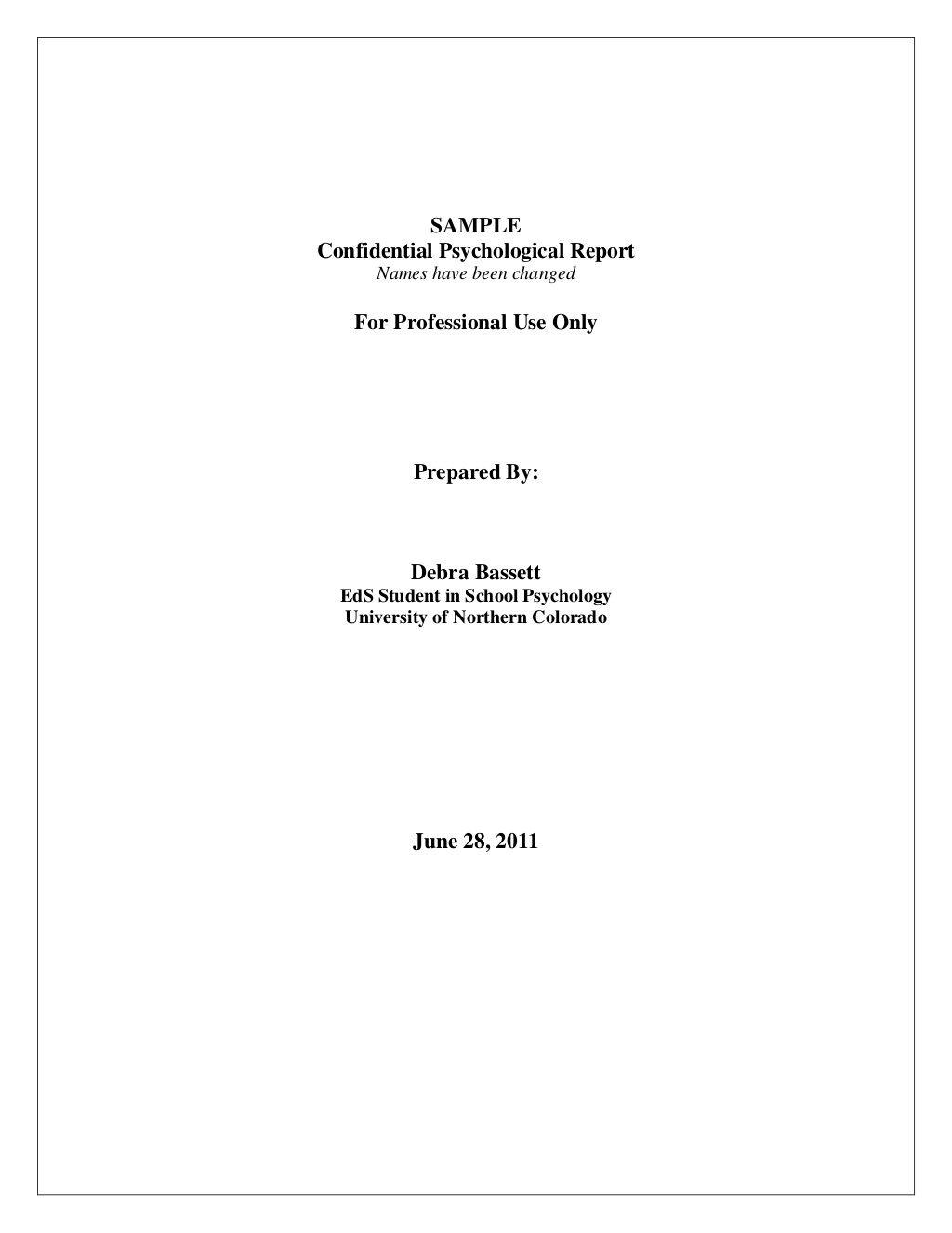 Full Psychological Report Sample By Debrajean333 Via Slideshare