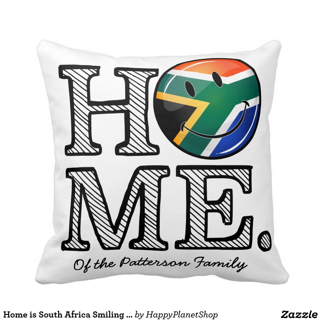 Home is South Africa Smiling Flag Housewarming Pillow