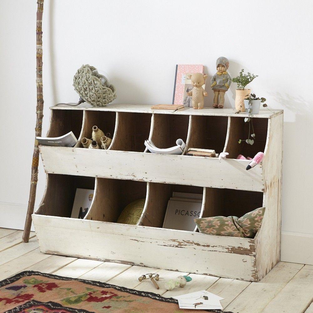 Meuble grains rangement fourre tout casier patine blanc meubles de metier pinterest - Meuble patine blanc ...