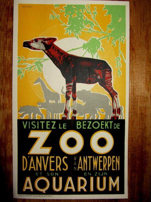 Jos Michielssen - 'Bezoekt/Visitez  de Zoo van  Antwerpen en zijn aquarium' - 1932