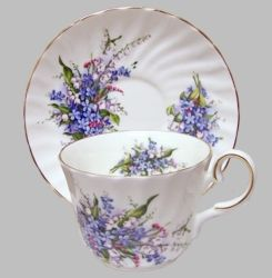 Blue forget-me-not flowers inspired this timeless design by Heirloom. Set on a white bone china background. Set of 2 Bone China Cups and Saucers Handwash recommended Dimensions: Teacup: 2 1/2