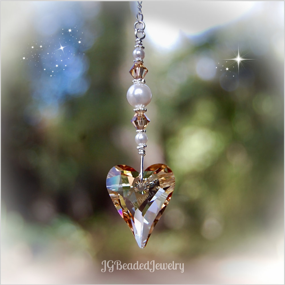 b11321a380fc85 Golden Heart Swarovski Crystal Suncatcher - Rearview Mirror, Window and  Light Pull Options! #Swarovski #Heart #Suncatcher by JGBeads.com