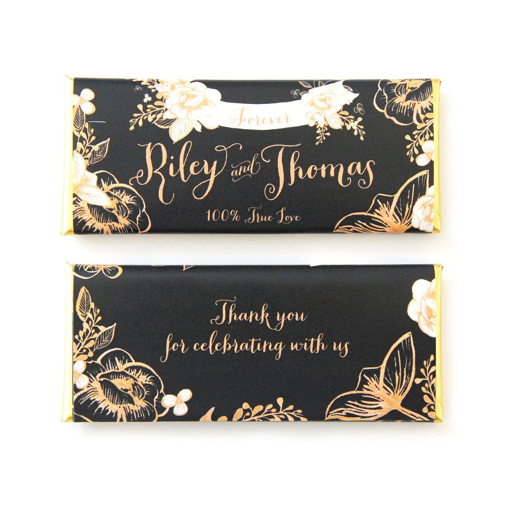 Gold Fl Rustic Wedding Personalized Candy Bar Wrer In Black